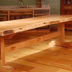 Live Edge Dining Tables with Trestle Base - Our Trestle Table in White Oak