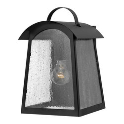 Hinkley Lighting - Hinkley Lighting 2654BK Putney Bridge 1 Light Outdoor Wall Lights in Black - Putney Bridge is a classic Shaker-inspired style constructed of durable solid aluminum. The generous panels of dense seedy glass, forged metal roof and classic rivet construction combine with a bold Black finish to complete this authentic design.