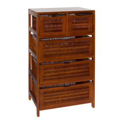 Organize It All - Five Drawer Storage Chest in Chestnut - Store away extra clutter with this Five Drawer Storage Unit in chestnut finish.   Drawers are removable.   See more Organize It All items from the Wood and Willow Collection to match. Overall Dimensions: 35.5 in. H x 19.75 in. W x 13.75 in. D