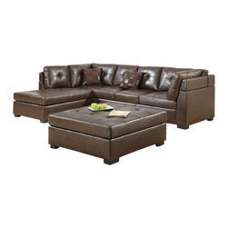 Coaster - Coaster Darie Leather Sectional Sofa with Left-Side Chaise in Brown - Coaster - Sectionals - 500686 - For comfortable and stylish group seating the whole family can enjoy this sectional sofa is just what you need. Designed with a lengthy chaise on its left and a three-seat armless sofa on its right this sectional offers plenty of room for sitting and socializing or sprawling out and lounging. Upholstered with thick box-faced seat cushions and plush button-tufted back pillows this sectional is built for your leisure offering sleep-worthy comfort and effortless support no matter where you sit. With its crisp lines block feet and brown bonded leather upholstery this sectional exudes a sleek contemporary style that will bring casual elegance to any room. Topped with matching knife-edge throw pillows for added style and support this sectional will quickly become everyone's favorite place in the house.