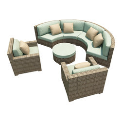 Forever Patio - Hampton Radius 5 Piece Outdoor Sectional Set, Heather Wicker and Spa Cushions - The Forever Patio Hampton Radius 5 Piece Modern Patio Sectional Set with Turquoise Sunbrella cushions (SKU FP-HAMR-5SEC-HT-SP) creates a stylish outdoor lounge that is sure to enhance the function and look of any patio area. The set seats 6 to 7 adults comfortably, and features Heather resin wicker, which is made from High-Density Polyethylene (HDPE) for outdoor use. Each strand of this outdoor wicker is infused with its natural color and UV-inhibitors that prevent cracking, chipping and fading ordinarily caused by sunlight, surpassing the quality of natural rattan. Each piece features thick-gauged, powder-coated aluminum frames that make the set extremely durable. Also included with this modern round sofa set are fade- and mildew-resistant Sunbrella cushions. These plush cushions and generously sized seats create an curved outdoor sofa sectional that rivals the comfort of an indoor sectional.