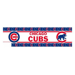 Sports Coverage - MLB Chicago Cubs Self Stick Wall Border - It's so quick and amazing, just peel and stick! Self-stick, removable, and reusable MLB Chicago Cubs Wall Borders are the easy way to decorate and won't damage walls! Peel and Stick technology will adhere to any smooth surface. Washable and dry strippable. Colorful graphics are printed on durable, tear-resistant vinyl wall border in the repeating pattern shown. Size: 5 x 15' long per package. It's so quick and amazing, just peel and stick! Installation has never been so easy!
