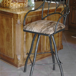 "Mathews & Company - Large South Fork Branch 30"" Swivel Bar Stool with Arms - Imagine how your bar or counter will be transformed by this fantastic Bar Stool from the South Fork Branch line. The unique design truly evokes a rustic and natural feel, while the artful touches and attention to detail exhibit true taste. Though crafted from the highest quality hand-wrought iron, it seems at first glance to be made of real tree branches. The earthy appearance is especially well-suited for pairing with a leather or cloth seat with your favorite iron finish to suit your individual tastes and decorating needs. Pictured in Leather upholstery and Black finish."