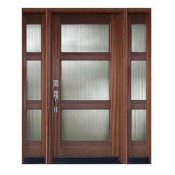 Wood and Glass Entry Door with Sidelights - Linden Tri-Lite wood and glass exterior door features insulated reeded glass panels and mahogany frame.  Trendy and timeless, this door is available without sidelights.  May be handcrafted from American Cherry or Mahogany.  Glass option: flemish, white laminated, seeded baroque, glue chip, or clear.  Available unfinished or pre-finished.  Select options and order online.  Free nationwide delivery.