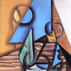 """Juan Gris Bottle and Glass on a Table - 16"""" x 24"""" Premium Archival Print - 16"""" x 24"""" Juan Gris Bottle and Glass on a Table premium archival print reproduced to meet museum quality standards. Our museum quality archival prints are produced using high-precision print technology for a more accurate reproduction printed on high quality, heavyweight matte presentation paper with fade-resistant, archival inks. Our progressive business model allows us to offer works of art to you at the best wholesale pricing, significantly less than art gallery prices, affordable to all. This line of artwork is produced with extra white border space (if you choose to have it framed, for your framer to work with to frame properly or utilize a larger mat and/or frame).  We present a comprehensive collection of exceptional art reproductions byJuan Gris."""