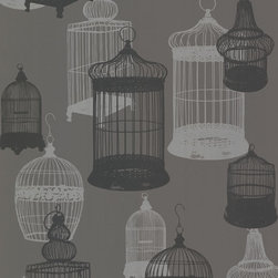 Avian Charcoal Bird Cages Wallpaper. - This glamorous charcoal grey wallpaper creates an alluring depth with metallic silver and suede accents. Vintage birdcages arranged in a contemporary screen-print motif.