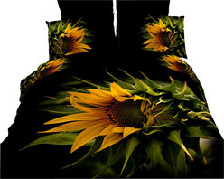 Dolce Mela - Luxury Duvet Covet Set Modern Linens Dolce Mela DM450, Queen - Decorate your bedroom with this gorgeous Black Forest duvet cover set featuring wild sunflowers against a dark background.