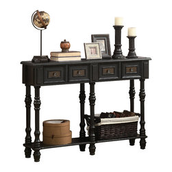 Monarch Specialties - Monarch Specialties 3885 Console Table in Antique Black - Designed to keep your house organized and stylish this black veneer traditional console table is made to fit in smaller areas or to accommodate hallways and entryways. A beautiful black and cherry stained finish carries a deep traditional styling for your classic home decor.