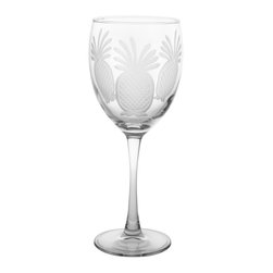 Rolf Glass - Pineapple Goblet  10.5oz, Set of 4 - Still or sparkling, it doesn't matter. These are the water goblets you'll turn to for entertaining on those nights on the deck or patio. Pretty engraved pineapples lend a tropical feel.