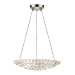 842840ST Pendant Constructivism - Pendant of individually cast Moonlit Mist clear glass pillow-shaped pieces, fused at high temperature in a hand-laid cobblestone pattern. The sole lenses create a fascinating light diffuser & sculptural form. Exposed metal in hand-applied silver leaf.