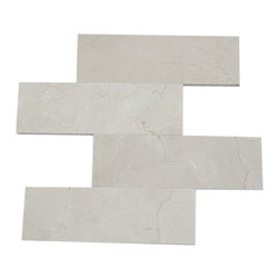 Crema Marfil 4 X 12 Marble Mosaic Tiles - CREMA MARFIL 4 X 12 This minimalist design would make a striking backsplash for your kitchen or bring a modern touch to your fireplace or any other decorated spot in your home. This is a natural material will have a color variation. Chip Size: 4x12 Color: Crema Marfil Material: Crema Marfil Finish: Polished Sold by the Square Foot - 3 pieces per sq. ft.