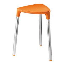 Gedy - Orange Faux Leather Stool - Stylish, unique stool made of orange faux leather and steel.