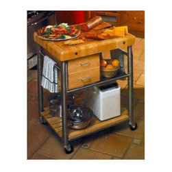 John Boos - Kitchen Cart - Cucina Toscano - This stylish kitchen cart is a beautiful and practical addition to any kitchen. Looking for the perfect kitchen cart that will give you the extra space that you need in the kitchen? The cute drawers are a great place to keep utensils, spices, towels, toothpicks, and things of that sort. Features a solid maple wood butcher block top, two dovetailed wood drawers, stainless steel frame and stainless steel towel racks on either side. This kitchen cart extends your counter space when you are baking or preparing large meals and the counter simply is not enough space. * 3 in. thick Maple top (Butcher Block Style). Surface has channeled groove to keep liquids from spilling. Stainless steel removable shelf (food service grade) doubles as serving tray. 2 dovetailed maple drawers. Towel bar made of stainless steel. 3 in. locking casters (commercial grade). Oil finish on face; Varnique finish on sides. 35 in. H x 24 in. D x 30 in. Wx 164 lbs.