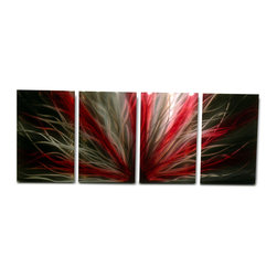 Miles Shay - Metal Art Wall Art Decor Abstract Contemporary Modern Sculpture- Radiance in Red - This Abstract Metal Wall Art & Sculpture captures the interplay of the highlights and shadows and creates a new three dimensional sense of movement as your view it from different angles.