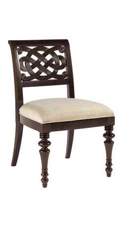 Lexington - Lexington Royal Kahala Molokai Side Chair Set of 2 537-882-01 - Asian button knot inspired pierced carvings on the back. The upholstered seat is Golden Bamboo, a textured woven in golden ivory.