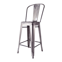 Kathy Kuo Home - Bouchon French Industrial Steel With Back Cafe Counter Stool - Set of 4 - This iconic industrial metal cafe counter stool, constructed of glossy steel, captures the utility and flexible use that makes loft style so smart.  Used indoors or out, the classic lines and comfortable back evoke the breakrooms and old fashioned working man's bars from Paris to Pittsburgh.