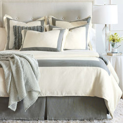 """Eastern Accents - Breeze Mitered Linen Pearl With Slate Duvet Cover or Set - Showing sophisticated restraint, the Breeze Mitered Linen duvet cover impresses with its tailored look and earthy colorway. Also available as part of a luxurious bedding ensemble, this versatile accent beautifully complements both ornate and minimalist bedroom decor. Available in twin, full, queen, super queen, king, super king and cal king; Professional cleaning recommended; Duvet cover in Breeze Pearl/Slate features button closures, inside corner ties to attach comforter (not included); Optional bedskirt in Breeze Slate, 16""""-25"""" drop with 3"""" decking border, split corners with kick pleats; Optional euro sham in Breeze Pearl/Slate with flap closure, down pillow insert; Optional standard or king sham in Breeze Pearl/Slate with flap closure, down pillow insert; Optional Breeze Slate decorative pillow with ruffles, zipper closure, down pillow insert."""