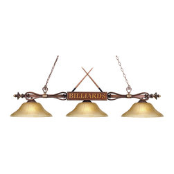 Elk Lighting - Designer Classics 3-Light Billiard/Island in Amber Gratina Glass Shades - The Designer Classics Collection runs the gamut from spirited, fun-loving billiard lights inspired by the game itself... To an array of stunning, rich designs that make an eye catching statement for any gameroom, bar or kitchen island. Use in any setting where optimal illumination is desired.