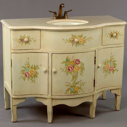 AA Importing - Flower Vanity w Sink in Distressed Antique Wh - Complete your bathroom with this traditional & handsome vanity. It has a contoured tan marble top around a spacious sink. Profiled body has hand painted floral accents with 3 doors and 2 drawers for storage. Vanity also has antique brass faucet & fixtures. Faucets and Drain Assemblies NOT included. 2 Drawers. 3 Doors, each opens to storage. Floral design. Features include tan marble top, Cream porcelain basin, brushed Antique Brass finish fixtures. 44 in. L x 22 in. W x 35 in. H (163 lbs.)