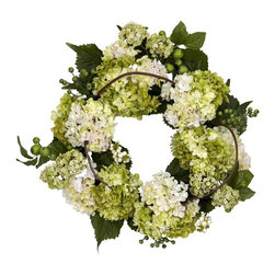 """22"""" Hydrangea Wreath - Like Hydrangea but prefer the lighter hues? Then this 22 """" wreath is exactly what your decor is looking for. With several of the """"lighter shades of bloom """" entwined in a circle with stems, leaves, and berries, this lovely wreath makes for a superb accent piece that won """"t overwhelm your other decor. Plus, the beauty will last a lifetime with minimal care (just hit it with the duster every now and again.) Height= 22 in x Width= 22 in x Depth= 4 in"""