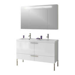 """ACF - 47 Inch Bathroom Vanity Set, Grey Oak - Set Includes: Vanity Cabinet (2 doors, 2 drawers). Fitted ceramic sink (47.2 inch x 18 inch). Lighted Medicine Cabinet (W 47.2 inch x H 29.1 inch). Kit of 4 polished chrome feet (10.6 inch). Vanity Set Features: Vanity cabinet made of engineered wood. Cabinet features waterproof panels. Available in Glossy White, Wenge, Grey Oak Senlis, Larch Canapa. Cabinet features 2 doors and 2 soft-closing drawers. Faucet not included. Perfect for modern bathrooms. Made and designed in Italy. Includes manufacturer 5 year warranty. Vanity Cabinet: H: 21.8"""" D: 17.7"""" W: 47"""". Bathroom Sink: 47.24"""" x 17.72""""; 58 lbs. Medicine Cabinet: H: 29.1"""" D: 6.3"""" W: 47.2"""". Vanity Feet: Height: 7.9""""."""