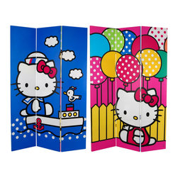 Oriental Furniture - 6 ft. Tall Double Sided Hello Kitty Sailor Canvas Room Divider - Classic, colorful images of Japan's Hello Kitty at her cutest, enlarged and printed onto a full size limited edition design room divider. Bring the soft, gentle colors and cozy feeling of the Hello Kitty graphic design tradition to your home or work environment.