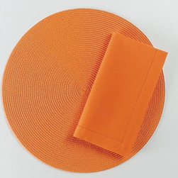 "Origin Crafts - Orange round woven placemats set of 4 - Orange Round Woven Placemats Set of 4 Napkins & Placemats sold separately. Sets of four. Durable. Virtually stain resistant. Woven w/polypropylene plastic and cotton thread. Wipe clean w/damp cloth. Dimensions: Placemats - 15"" dia. Napkins - 20"" x 20"" By Tag Ltd. - Tag Ltd. is a supplier of"