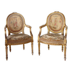 Pair of French Louis XVI Style Gilt Aubusson Armchairs - Ref: K-44-0112