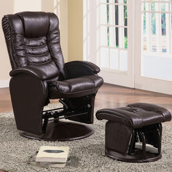 Coaster - Brown Casual Glider - Ultra comfortable and smooth, this glider is covered in a durable brown leather like vinyl and comes with matching ottoman.