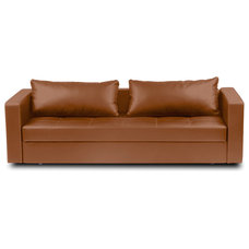Modern Sofas Eperny Light Brown Faux Leather Sofa Sleeper