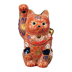 """Japanese Porcelain Dolls (Kutani Mori Manekineko) Welcome Cat Ornament - With the cutest round face with a smile, this is all you need to keep a smile on your face for a day.  You will find sea save on the back of the kitty.  This is one of the traditional pattern of Kutani ware.  You will find the """"Mori"""" technique on this object looks wild yet detailed."""