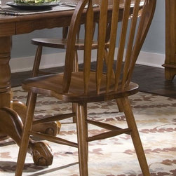 Liberty Furniture - Nostalgia Windsor Back Side Chair - Set of 2 - Set of 2. Arrow back. Saddle shaped seating. Nylon glides. Warranty: One year. Made from select hardwoods and oak veneers. Medium oak finish. Made in Malaysia. 19 in. W x 20 in. D x 38 in. H (11 lbs.)