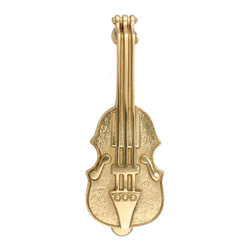 Renovators Supply - Door Knockers Lacq Brass Violin Door Knocker 6 1/2 H x 2 1/2 W | 17206 - Door Knocker. Knock- knock! Once a sign of their homeowner?s profession- doorknockers now come in a variety of designs & finishes for everyone?s style. Step-up your curb appeal & add value to your home with finishing touches like a knocker. Made of 100% solid brass these knockers are a knock out! Polished & lacquered to prevent tarnishing this knocker is both beautiful & functional. Easy installation- thread bolts through the door for secure mounting. Mounting hardware included. Measures: 6 1/2 in. H x 2 1/2 in. W.
