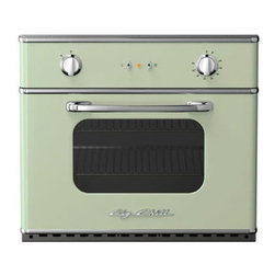 """Big Chill - Big Chill Electric Wall Oven 30 in. wide - Jadite Green - The Big Chill Jadite Green Wall Oven truly is a Modern Made Classic. Vintage inspired style meets modern performance with the electric wall mounted oven. Easily installed into your kitchen, the space-saving green Wall Oven is electric, and ideal for condo living and small kitchens. The green Wall Oven saves on kitchen space but is large enough to fit a commercial 18"""" x 26"""" baking sheet. The performance oven has a 5000 watt broil element, removable racks for easy cleaning, and precision convection cooking. This modern spin on a vintage classic is every cooks dream."""