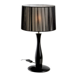 """Schuller - Schuller Kit Lin Table Lamp - Black - The Kit Lin Table Lamp - Black has been made by Schuller in Spain  This collection was made of wood and glossy black lacquer finish, tighten thread shade in black color The Kit Lin Table Lamp is a unique display of chic design and modern innovation at it's finest The lamping comes with 1 X E27 Incandescent (Not Included)   The Kit Lin Table Lamp - Black has been made by Schuller in Spain  This collection was made of wood and glossy black lacquer finish, tighten thread shade in black color The Kit Lin Table Lamp is a unique display of chic design and modern innovation at it's finest The lamping comes with 1 X E27 Incandescent (Not Included)      Manufacturer: Schuller   Designer: Schuller    Made in: Spain    Dimensions:  Height:19.69"""" (50 cm) X Depth:10.63"""" (27 cm) X Width:10.63"""" (27 cm)      Lamping:  1 X E27 Incandescent (Not Included)     Material: methacrylate"""