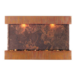 Water Wonders - Horizon Falls Lightweight Medium Wall Fountain w Indian Raja Slate (Patina Coppe - Choose Frame: Patina Copper. Indoor use only. Adjustable water flow. Quiet submersible pump. LED lighting with remote control keypad. Engineered with splash-free design. Polished river rocks. NSI Indian Raja slate. 37.5 in. W x 5 in. D x 24.5 in. H (25 lbs.). Instruction Manual & WarrantyCombines genuine multi-color Indian Rajah slate with water flowing passed polished river rock creating a soothing sound and awesome focal point for any room. Choose and change colors to your mood from cool white plus 12 additional colors. Create effects such as gradual transition of colors, dim, brighten and more all with remote control keypad. Rated for over 20,000 hours of lighting. Simply hang on the wall per instructions. NSI slate, our special process shears a layer of genuine Indian Raja slate and fuses it to a composite material with the same chipped edge technique as slab slate. They are indistinguishable from a thick slab of slate. All the beauty is retained and the weight is reduced by over 90%. Please note that these units are handmade and measurements may vary slightly. Texture and color of the Copper and slate may also vary slightly with each fountain.