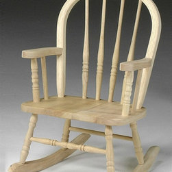 International Concepts - Wood Windsor Kids Rocker - Abundant hand-carved highlights and a classic silhouette give this rocker must-have appeal. Turned slats, arm supports and legs show remarkable attention to detail. Crested back and a wide seat round out the design. Add the optional finishing kit for a look all your own. Made of ParaWood. Unfinished. Minimal assembly required. 15 in. W x 11 in. L x 29 in. H