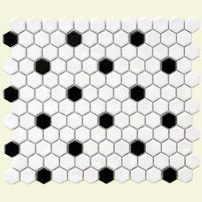 Tile SomerTile 10.25x11.75-in Victorian Hex 1-in White/Black Dot Porcelain Mosaic Til