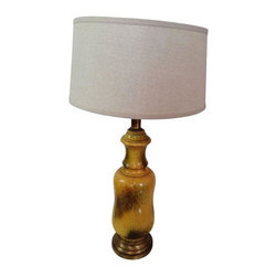 Large Yellow Glazed Vintage Ceramic Lamp - Light up your life with this unapologetically hip vintage lamp! This large yellow vintage lamp is made of glazed ceramic in mustardy yellow, brown, and green hues. Earthy and warm, this lamp has great vintage style!