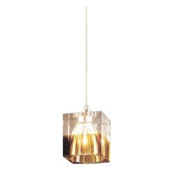 """Worldwide Lighting - Solid Crystal 1 Light Amber Square Mini Pendant Light 3"""" x 3.12"""" - This stunning 1-light Crystal Mini Pendant only uses the best quality material and workmanship ensuring a beautiful heirloom quality piece. Featuring a finely cut premium grade Amber crystal with a lead content of 30%, this elegant pendant light will give any room sparkle and glamour."""