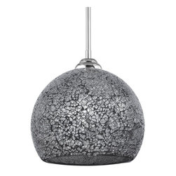 Linea di Liara - Nicola Large Round One-Light Stem Hung Pendant Lamp, Shimmering Smoke - Dazzling crackled glass and sparkling illumination define the pendants of the Nicola Collection. Handmade art glass and sleek chrome make Nicola pendants the centerpiece of any room.
