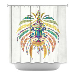 DiaNoche Designs - Shower Curtain - Pom Graphic Whimsical Lion - Sewn reinforced holes for shower curtain rings. Shower Curtain Rings Not Included. Dye Sublimation printing adheres the ink to the material for long life and durability. Machine Washable. Made in USA.
