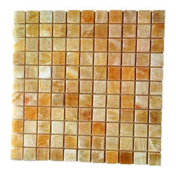 "Honey Onyx 1"" Mosaic Polished - Yellow Onyx 1x1 Polished Onyx tile is backed with mesh and available in 12x12 sheets. This dynamic yellow, brown and cream tiles are exquisite and unique and ideal for walls applications including kitchen backsplashes and bathroom surrounds.  Also known as Honey Onyx, Giallo Crystal Onyx"
