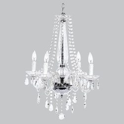 Belle & June - Middleton Glass & Chrome 4 Light Chandelier - The 4 arm Middleton glass chandelier features stands of  crystals cascading through the 4 white lights  to delicately hang below. Hang this whimsical chandelier in your little girl's nursery for a dramatic effect that she will adore for years to come!