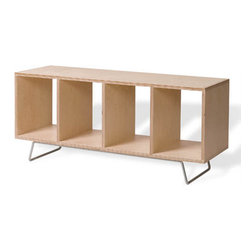 Offi - Minimalist Bench Box / Storage Unit on Legs - Add style and function with this handsome display bench.  The four high, open comparments are ideal for holding large coffee table size books, art objects and more.  Birch and plywood construction features an appealing natural finish, that fts perfectly in any room.  If simplicity is high on your list of priorities, but you also want something with convenience and a modern style, consider this bench box.  Place your prized possessions within the separators of this storage bench or use this sleek wooden selection as a bench or coffee table to keep adornments, lamps and other items in full view. * Benchbox can be utilized as a coffee table and bench. Additional storage boxes can hold books, magazines, or accessories. Birch plywood construction. Legs constructed of sleek steel tubing . Overall: 44 in. L x 15 in. D x 23 in. H. Box size: 10 in. W x 13.25 in. H x 15 in. D. Leg height: 4.75 in.