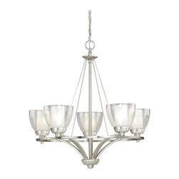 Vaxcel - 5L Chandelier - The clear outer glass of this five light chandelier contrasts with the frosted inner glass of the shade to create a subtle two-tone effect.