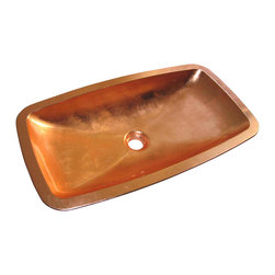 Maestrobath - Pert Open High End Bathroom Sink, Copper Leaf - With its rectangular shape slightly curved along the length and width, smooth edges and a shallow but open interior, this Italian vessel sink is masterfully created to possess a low profile for your modern counter top design. The fancy bathroom sink is available in gold, silver and copper shades to fit in your space elegantly and seamlessly. The special polymer used to create this beautiful bathroom sink, PERT, is very light weight and durable.