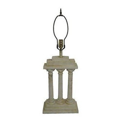 """Used Fluted Corinthian Column Marble Lamp - Beautiful white Carrera marble table lamp with three tapered Corinthian columns. Stamped """"Made in Italy."""" Newly rewired and in working condition; uses one 100W-max bulb. Lamp is 25""""H to top of socket, 33.5""""H to top of finial. Some very minor chips."""