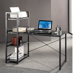 """Techni Mobili - Glass Top Computer Desk with 4-Shelf Metal Bookcase - This Techni Mobili Glass Computer Desk with built-in shelves is the perfect solution for any home or office work space. It offers an ample work surface and plenty of storage shelving. This utilitarian design features an 8mm Smoke Tempered Glass surface with a Black Powder-Coated Steel Frame and 3 accessory shelves. Features: -Black Tempered Glass Top. -Attached bookcase with 4 metal shelves. -Matching black frame made of powder coated steel. -Desk Dimensions: 49"""" W x 25""""D x 47.5""""H."""