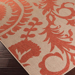 "Alfresco Rug - Taupe and Cherry - 7'6"" x 10'9"" - Oversized florals in a wandering, paradisial pattern bring a mood of good cheer and happy serenity to your home when you choose the Alfresco Rug in Taupe and Cherry.  This warm and simple two-toned rug, a loop-textured floor covering that's durable and safe for indoors and out, adds a personality of charm to your transitional space with its bold patterns."